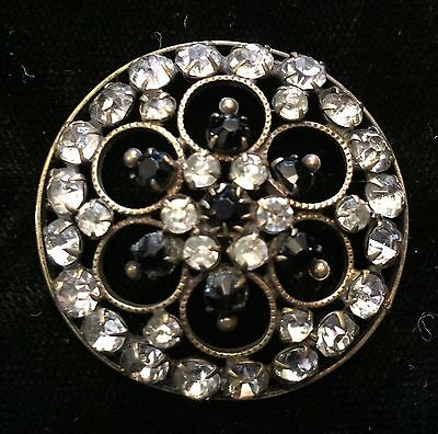 Beautiful Antique Large Pierced Victorian Button With Black & Clear Pastes