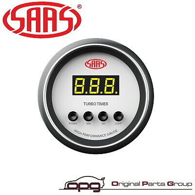 """Saas Performance Turbo Timer 52Mm 2""""  Digital Gauge White Face 4 Colour New"""
