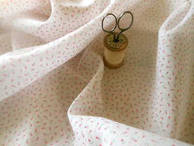 Vintage Pink Tiny Rosebuds Roses Light Cotton Voile Fabric ~ dolls clothing