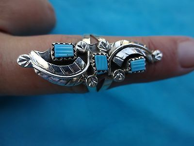 """Navajo Womans Ring Sz 8 Sterling Silver & Turquoise 1 5/8"""" Long Signed"""