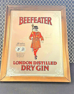 Large Vintage Beefeater Gin Reverse Painted Mirror Imported 16 x 20