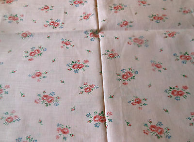 Vintage French  Petite Floral Roses Cotton Fabric ~ Blush Rose Pink Blue