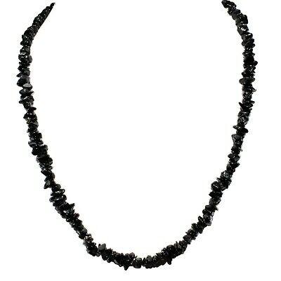 "CHARGED  Himalayan Black Tourmaline 18"" Necklace + Selenite Pocket Puffy Heart"