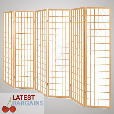 6 Panel Room Divider Folding Privacy Screen Partition Wooden Timber Home Natural