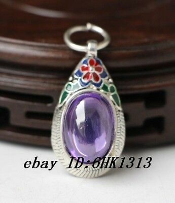 OLD INLAY(purple)ZIRCON WONDERFUL CLOISONNE HAND CARVED PENDANT