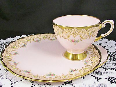 Tuscan Pink Floral Heavy Gold Snack Tennis Set Teacup Plate
