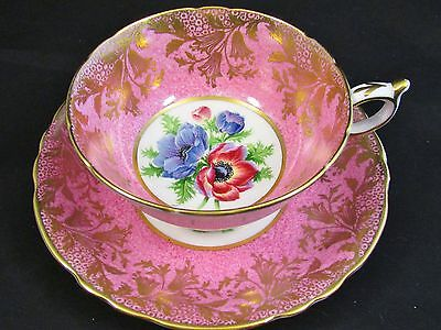 Paragon Speckled Hot Pink Fancy Gold Overlay Anemone Tea Cup And Saucer