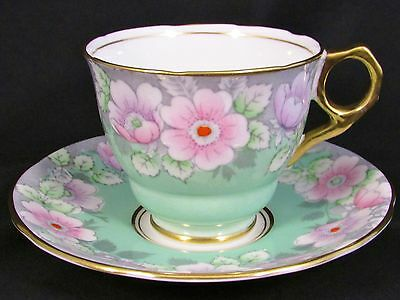 Royal Stafford Mint Green Enamel Beaded Floral Tea Cup And Saucer