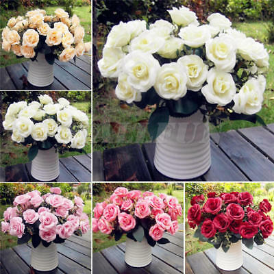 12Head Artificial Fake Roses Silk Flower Wedding Party Bridal Bouquet Home Decor