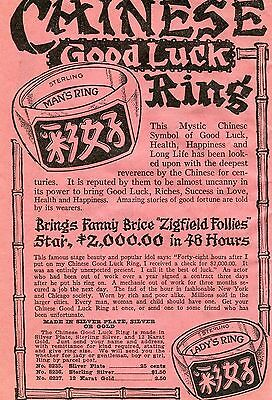 1936 Print Ad of Sterling Chinese Good Luck Ring for Men & Women w Fanny Brice