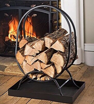 Plow & Hearth Small Tubular Steel Oval Wood Rack with Tray, in Black