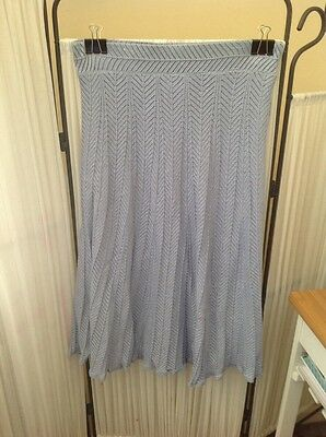 Womens Vintage Metallic Blue Knitted Skirt Size 10