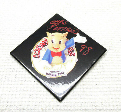 Warner Brothers Looney Tunes Porky Pig Button Pin Badge SIGNED by Chris Peterson