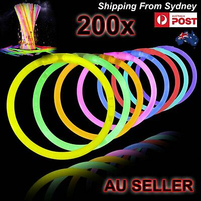 200 Mixed Colour Glow Sticks Bracelets Light Party Glowsticks Glow in dark Party