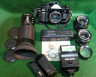 CANON A-1 35mm SLR FILM CAMERA BLACK BODY + LENSES & ACCESSORIES XXXX