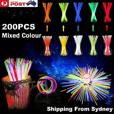 100 Mixed Colour Glow Sticks Bracelets Light Party Glowsticks Glow in the dark