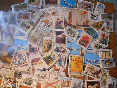 Beautiful Lot of 60+ Topical Stamps In Mounts, Flowers, Birds, Art, Dinosaurs