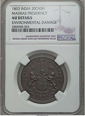 1803 India, Madras Presidency. 20 Cash, NGC UNC Details