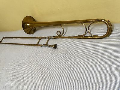 "Getzen""Vintage""Trombone The Dude #60 Elkhorn,Wis. Brass/Silver 2313 Worn& Faded"