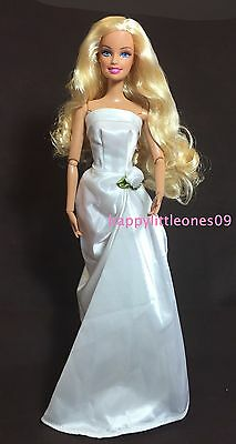 White Satin Wedding Party Evening Dress/Clothes/Outfit for Barbie Doll Brand New