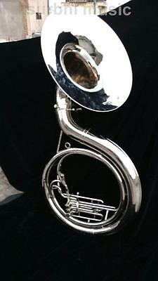 "Sousaphone 22"" Silver Chrome Nickle 3 Valve Sousaphone With Case Box & Mouth Pc."