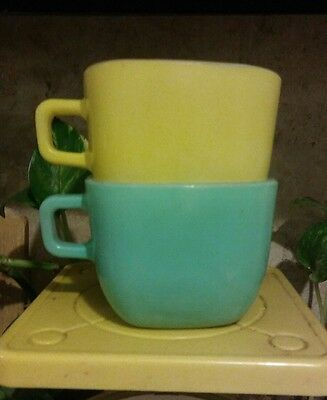 Glasbake Lipton Promotional Square Soup Cup Mugs mint green &  yellow