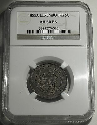 1855 A LUXEMBOURG 5 CENTIMES ~ NGC GRADED at AU-50 BN