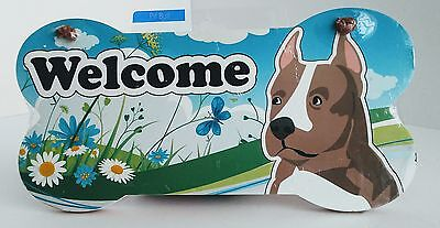 Pit Bull Lovers Welcome Sign Wall Plaque Door Sign