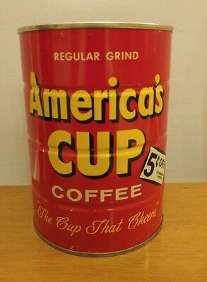 VTG Americas Cup One Pound Tin Coffee Can Sealed Both Ends Empty Hoerr & Son USA