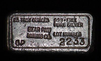 Bear Paw Mining Company CWP Stamped 25.92 oz .999 Silver Poured Bar LOT #2233