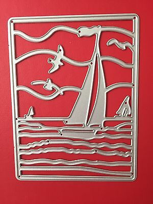 NEW• Sailing Yachts Seaside Ocean Summer Large Frame DIE For Cuttlebug Or Sizzix