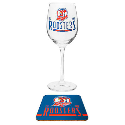 Sydney Roosters NRL Wine Glass And Coaster Set