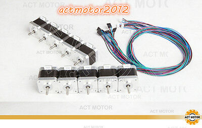 ACT Motor 10pcs Nema17 Scrittmotor 17HS4417L20P1-X2,40mm,1.7A with single plane