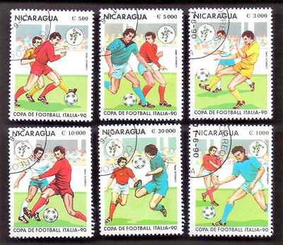 NICARAGUA (23/3) 1990 Footballs Sports 6 Diff. Used Stamps ! Gift Children !