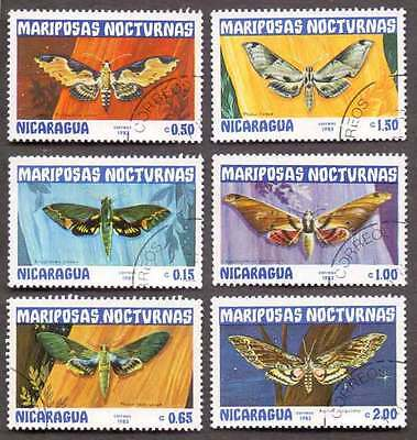 NICARAGUA (11/3) 1983 Butterfly Moth 6 Diff Used Stamps ! Gift Your Children !