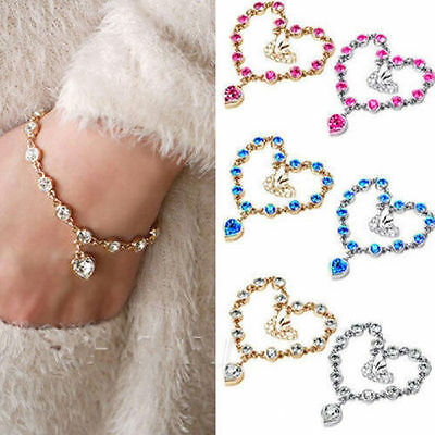 New Women Lady Infinity Charm Silver Gold Crystal Heart Chain Bracelet Jewelry