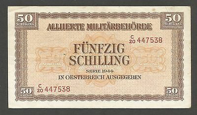 Austria 50 Schilling 1944; VF+; P-109; S/B 221; Printed in England;World War II