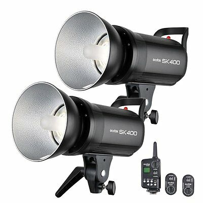 2X Godox SK400 Studio Strobe Flash Light Head + FT-16 Wireless Trigger Set