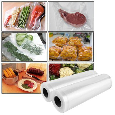 2 Rolls -Vacuum Sealer Bags Food Vacuum Saver Textured Bag 22cm x10M  【UK】