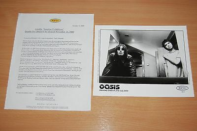 RARE UK OASIS PRESS RELEASE - EPIC RECORDS 2000 FAMILIAR TO MILLIONS Wembley