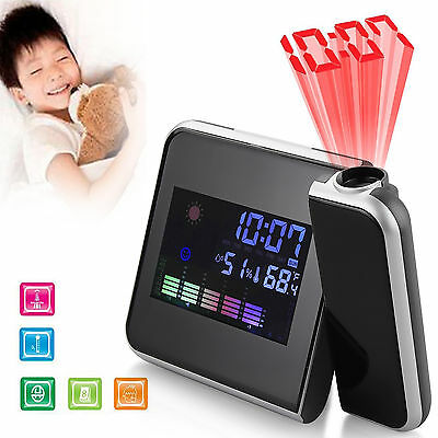 Digital LCD LED Projector Snooze Time Colorful Alarm Clock Weather Thermometer