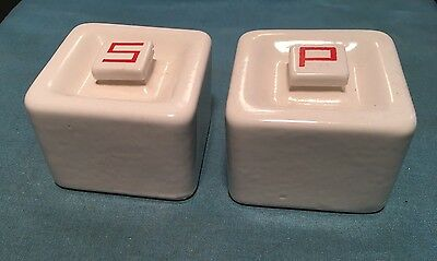 ART DECO White SQUARE SALT & PEPPER SHAKERS Antique STOVE TOP Ceramic Vtg