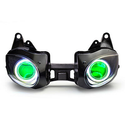 KT LED Angel Eyes Headlight Assembly For Kawasaki Ninja ZX-6R 2007-2008 Green