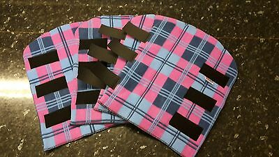 Fleece Horse leg Wraps, Horse Stable wraps PONY size  in pink checked set of 4