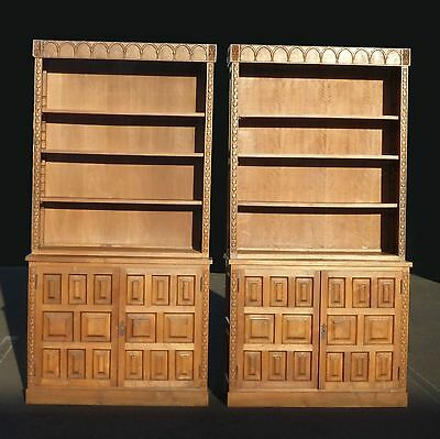 Pair Two Vintage Mid Century TEAK BOOK CASES Breakfront FRENCH Cabinet Shelves