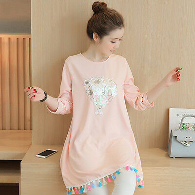 New Women Long Sleeve Loose Casual Nursing Clothes Maternity Pregnant Tops Dress