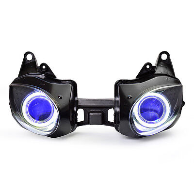 KT LED Angel Halo Eye Headlight Assembly for Kawasaki Ninja ZX-6R 2007-2008 Blue