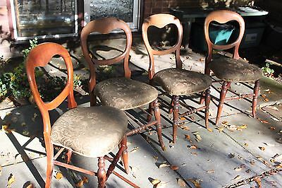 19th C Victorian Set of 4 Dining Chairs Restoration