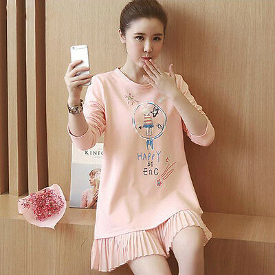 Summer New Women Loose Maternity Long Sleeve Nursing Clothes Pregnant Dress Pink