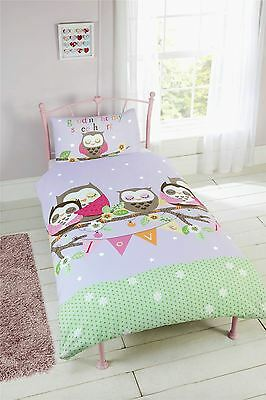 Goodnight Sweetheart Owl Bird Single Duvet Cover & Pillowcase Set
